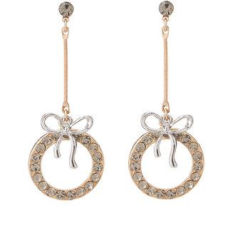 Jazz Jewellery New Design Wedding Wear CZ Stone Two Tone Dangle Earrings For Womens