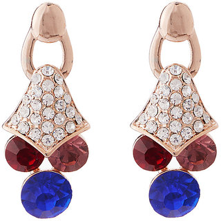 Jazz Jewellery Multicolour CZ Gold Plated Drop Earrings For Womens