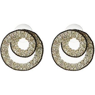 Jazz Jewellery Designer Ad CZ Stone Round Shape Stud Earrings For Womens
