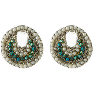 Jazz Jewellery Designer Ad Pearl and Crystal Stud Earrings For Womens