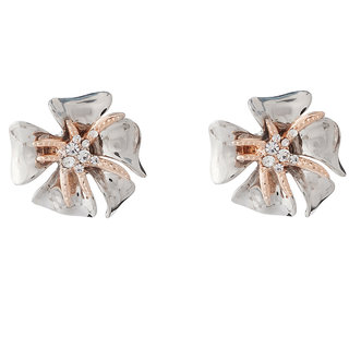Jazz Jewellery Two Tone Plated Ad Stone Flower Shape Stud Earrings For Womens