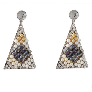 Jazz Jewellery Designer Triangle Shape With CZ Stone Pearl and Crystal Dangle Earrings For Womens