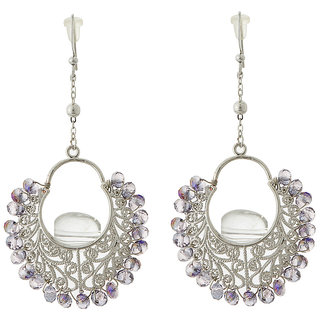 Jazz Jewellery Silver Plated Purple Crystal Party wear Chandelier For Womens