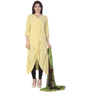 RUMOURSS Yellow Modal Fabric Kurti