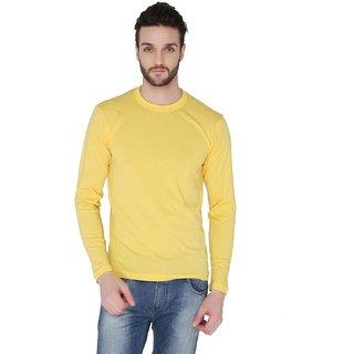 Joke Tees Solid Mens Round Ribbed Long TShirtGold Yellow