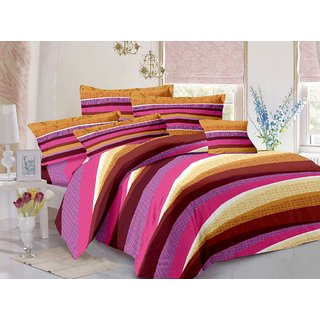 Welhouse Cotton Stripes Multi Double Bedsheet with 2 Contrast Pillow Covers(TC-129)