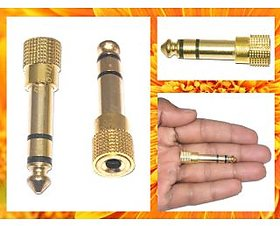3.5mm Female to 6.5mm Male Audio Adapter Gold Tone