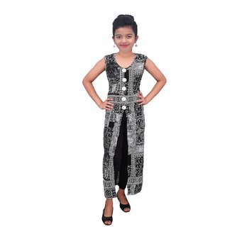 Titrit Black printed cape dress without legging
