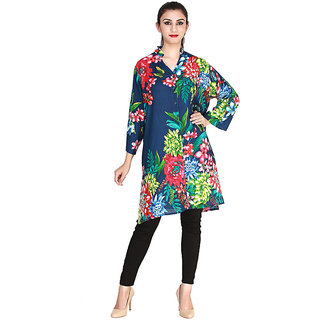 Vaio Fashion Multi Chineese Collar With V- Neck With Front Open Floral Print Kurti/Tunic