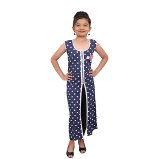 Titrit blue polka print  cape dress without legging