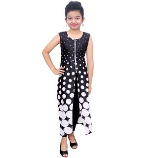 Titrit black and white polka  print  cape dress without legging