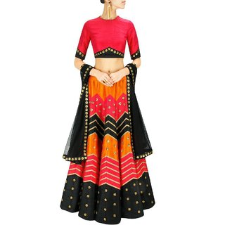 New Red  Black Color Designer Lehngha Choli