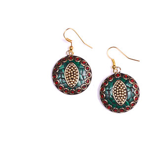 metal green  red colour round shape earing