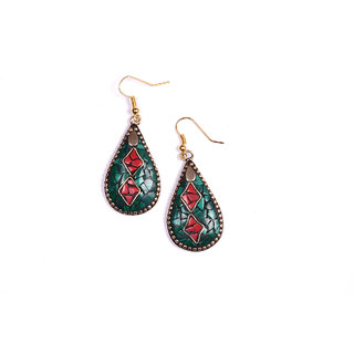 drop shape design green  red colour combination earing