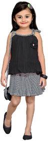 MID AGE Black Georgette Girls Floral Design Top  Skirt