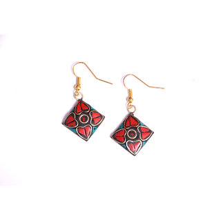 handmade red  terquise colour star shape earing