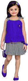 MID AGE Blue Girls Floral Design Top Skirt (2-14 yrs)