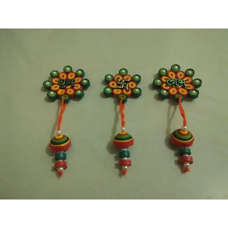 set of stickable shubh labh swastik wall hanging