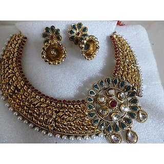 Gold Plated Heavy Necklace Set with Jhumkas