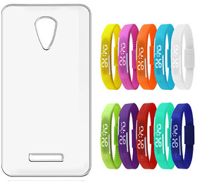 Soft Transparent Back Cover for Xolo One with LED Waterproof Jelly Digital Watch