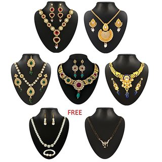 Kriaa Alloy Multicolor Set of 5 Jewellery Set With Free Pearl Necklace Set With Manglsutra - 1002034