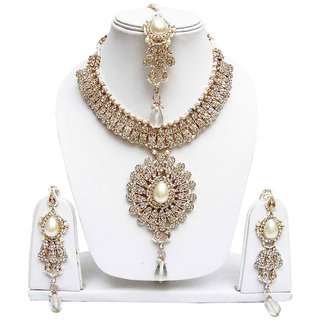 Jewels Gold American Diamond Alloy Gold Plated JG-4113 Necklace Set