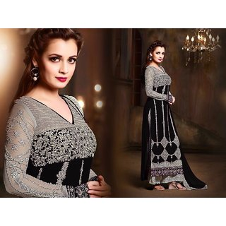 Ladyview Black  Grey Embroidered Georgette Straight Suit