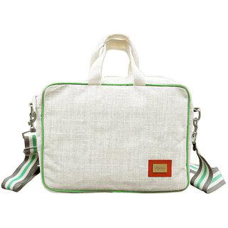 Diyaras Jute Fabric Unisex Off-White 15.5 inch Laptop Sleeve.