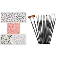Looks United 15 Pcs Nail Art Brush Set And 5 Self Adhesive Nail Art Stickers Sheets