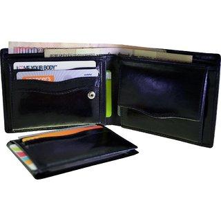 Arpera Black Genuine Leather Mens Wallet With Detachable Card Holder C11431-1