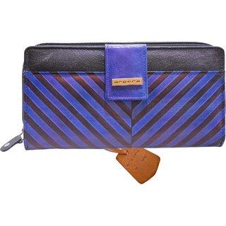 Arpera Blue Genuine Leather Ladies Wallet Clutch