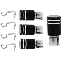 Hans Enterprise Set Of 4 Stainless Steel Single Curtain Rod Bracket Pack Of 8 Pcs