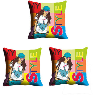 IndiWeaves Micro Polyester Digital Printed Cushion Cover Combo (Pack of 3 Cushion Cover)