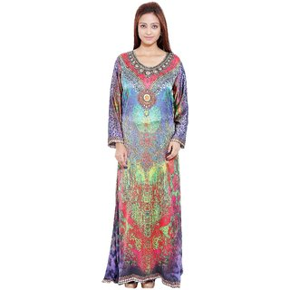 Radhya Multicolour Digital Printed Satin Unstitched Gown/Kaftan