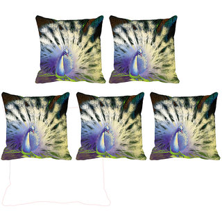 IndiWeaves Micro Polyester Digital Printed Cushion Cover Combo (Pack of 5 Cushion Cover)(Size- 12X12 Inches)