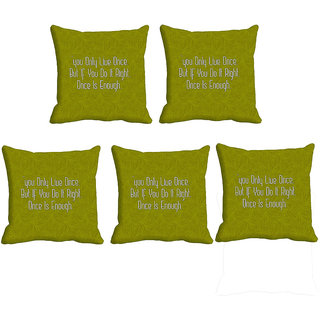 IndiWeaves Micro Polyester Digital Printed Cushion Cover Combo (Pack of 5 Cushion Cover)(Size- 16X16 Inches)