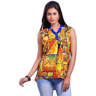 DressurPersona Multi Printed Cotton Yellow Top