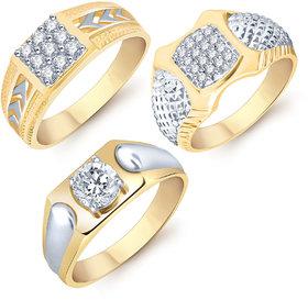 Sukkhi Modish Gold  Rhodium Plated CZ Set of 3 Ring Combo For Men