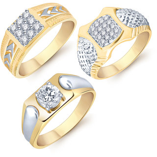 Sukkhi Modish Gold  Rhodium Plated CZ Set of 3 Ring Combo For Men