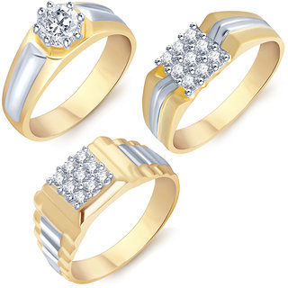 Sukkhi Marvellous Gold  Rhodium Plated CZ Set of 3 Ring Combo For Men