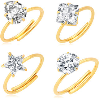 Sukkhi Dazzling Gold Plated Solitaire Set of 4 Ladies Ring Combo For Women