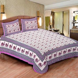 Sunshine Rajasthan Purple Cotton Double bedsheet-5002