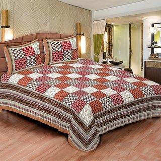 Sunshine Rajasthan Brown Cotton Double bedsheet-6001