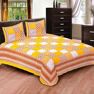 Sunshine Rajasthan yellow Cotton Double bedsheet-6005