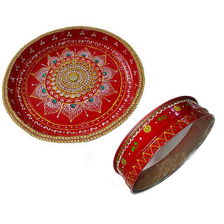 Decorated Stone Thali 10 Inches for karwachauth