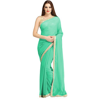 nikha fashion light green georgette saree