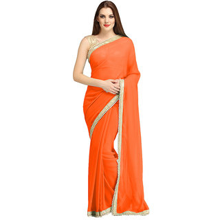 nikha fashion orange georgette saree