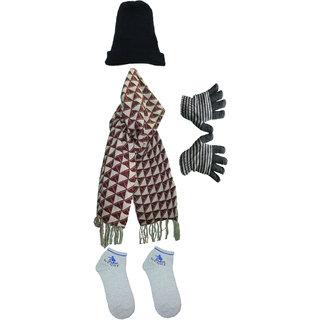 6e0e10a32da Winter Dhamaka - Regular Woolen Winter Cap + Soft Woolen Winter Gloves +  New Stylish Winter Mufler + Socks
