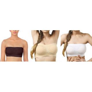 Dealseven fashion Brown  Skin  White  Color Free Size  None Padded Tube 3 Set Of Bra(Fit Bust Size Between 30 to 36(A  B))