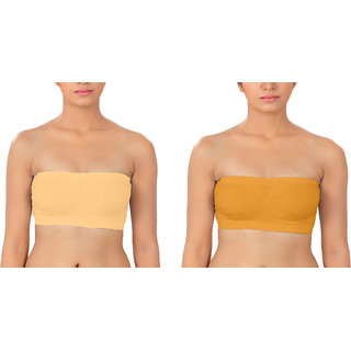 Dealseven fashion  Light Yellow  Dark Yellow  Color Free Size  None Padded Tube Combo Bra(Fit Bust Size Between 30 to 36(A  B))